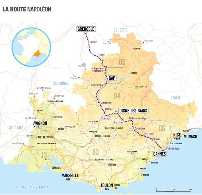 Carte sur la route napoleon